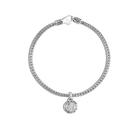 Classic Chain Round Charm Bracelet in Silver with Diamonds