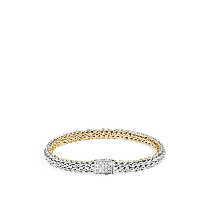 Reversible 6.5MM Bracelet in Silver and 18K Gold with Diamond, , large