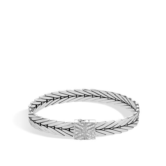 Modern Chain 8MM Bracelet in Silver with Diamonds, White Diamond, large
