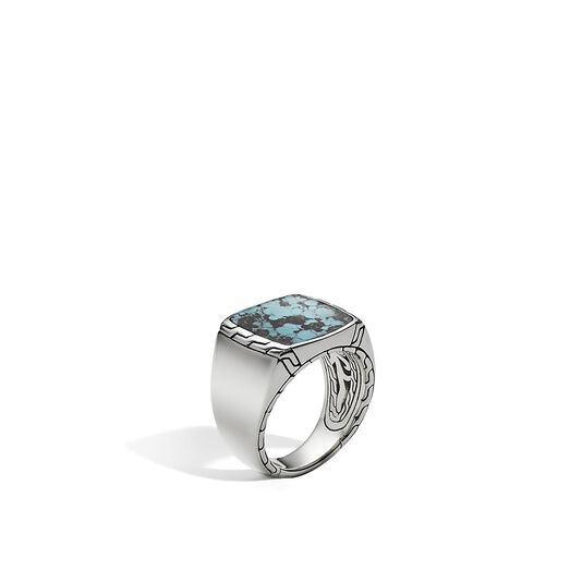 Classic Chain Signet Ring in Silver with 15x10MM Gemstone, Natural Arizona Turquoise, large