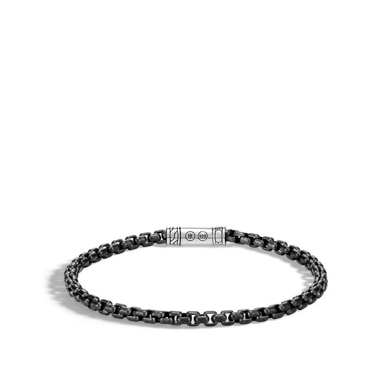 Classic Chain 4MM Box Chain Bracelet in Blacked Silver , , large