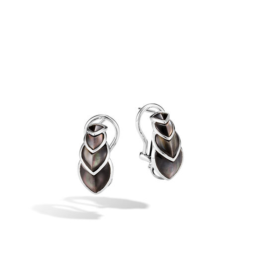 Legends Naga Buddha Belly Earring in Silver with Gemstone, Grey Mother of Pearl, large