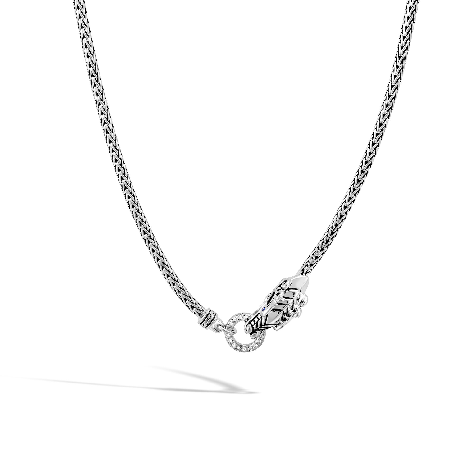 Legends Naga Necklace in Silver with Diamonds, , large
