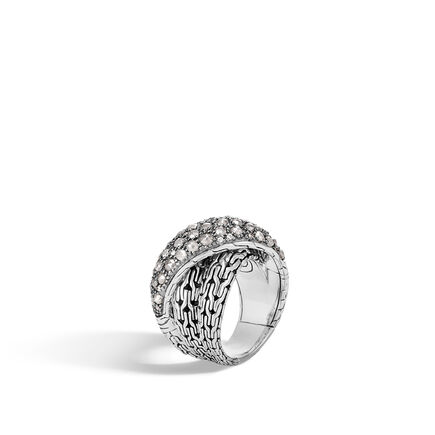Classic Chain Overlap Ring in Silver with Diamonds