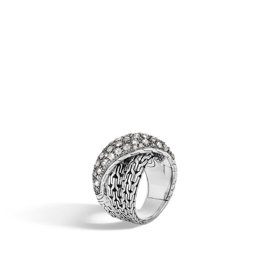 Classic Chain Overlap Ring in Silver with Diamonds, White Diamond, large