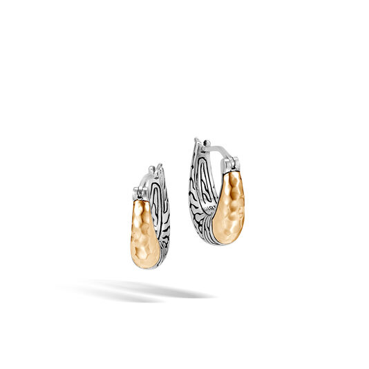 Classic Chain Hoop Earring in Silver and Hammered 18K Gold, , large