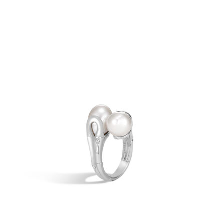 Bamboo Bypass Ring in Silver with 11MM Pearl