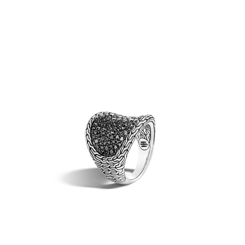 Classic Chain Saddle Ring in Silver , Treated Black Sapphire, large