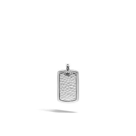 Classic Chain Large Dog Tag in Hammered Silver, , large