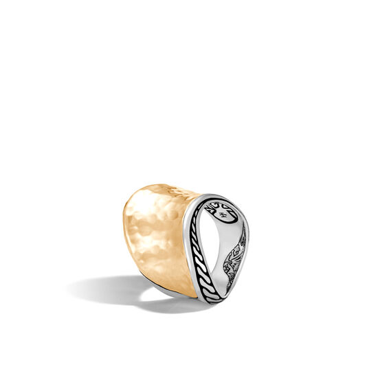 Classic Chain Wave Saddle Ring, Silver and Hammered 18K Gold, , large