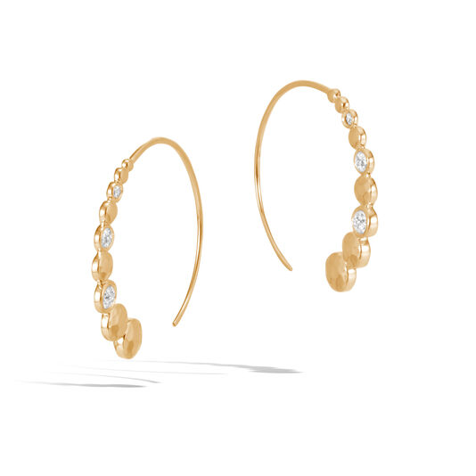 Dot Small Hoop Earring in Hammered 18K Gold with Diamonds, White Diamond, large