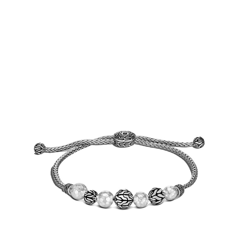 Classic Chain Pull Through Bracelet in Hammered Silver, , large
