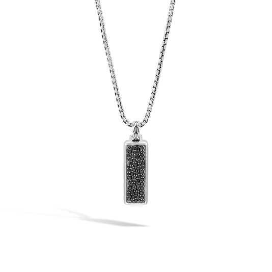 Classic Chain Dog Tag Pendant, Silver with Gemstone, Black Sapphire, large