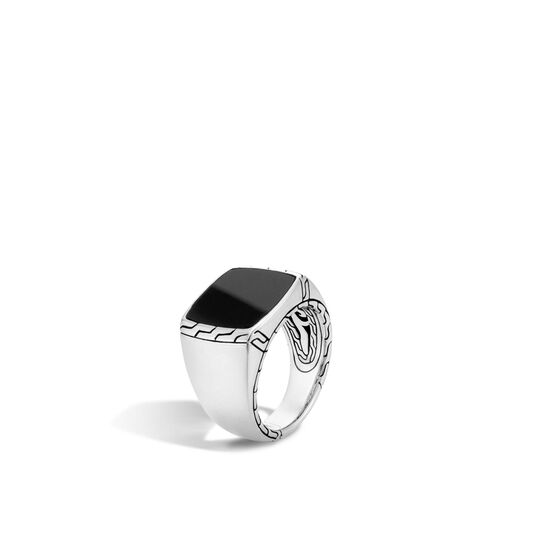 Classic Chain Signet Ring in Silver with 15x10MM Gemstone, Black Jade, large
