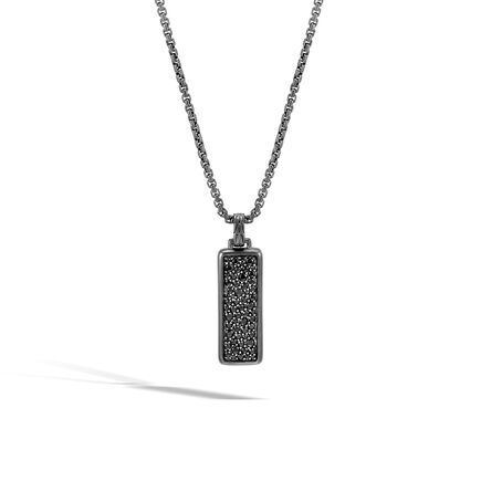 Classic Chain Dog Tag Pendant,  Blacked Silver with Gemstone