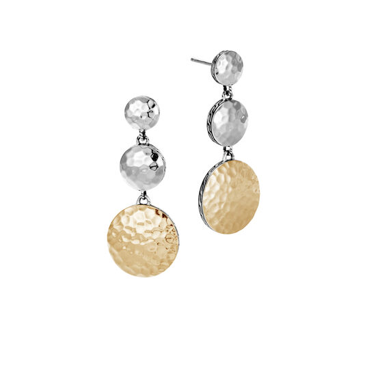 Dot Triple Drop Earring in Hammered Silver and 18K Gold, , large