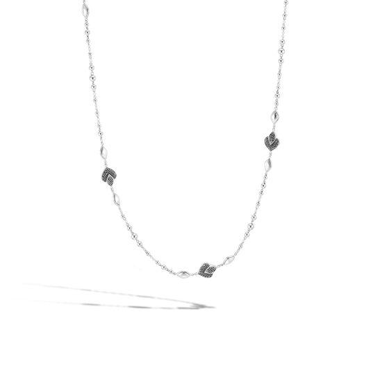 Legends Naga Station Necklace in Silver with Gemstone, Black Spinel, large