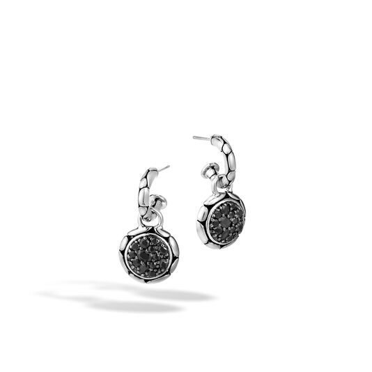 Kali Extra Small Drop Earring in Silver with Gemstone, Black Sapphire, large