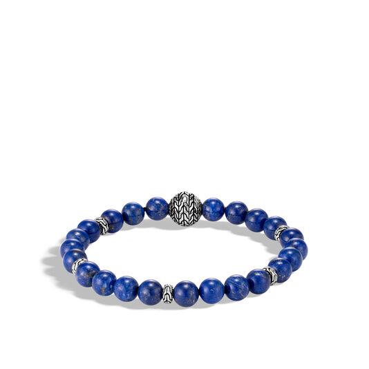 Classic Chain Bead Bracelet, Silver, 8MM Gemstone, Lapis Lazuli, large