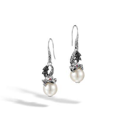 Legends Naga Drop Earring in Silver, 11MM Pearl, Gemstone