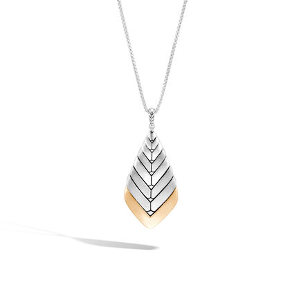 Modern Chain Pendant Necklace in Brushed Silver and 18K Gold