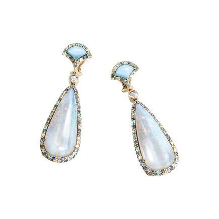 Cinta Legends Naga Earrings in 18K Gold, Opal, Turquoise