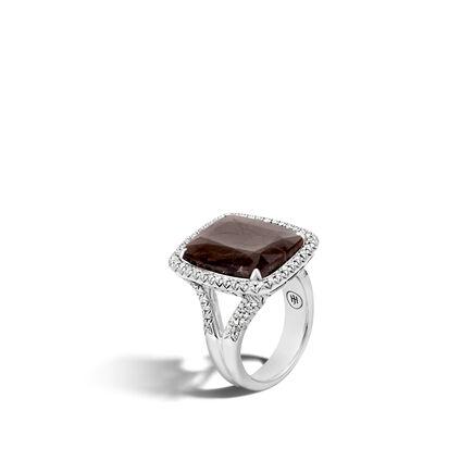 Classic Chain Magic Cut Ring, Silver, 20x15MM Gems, Diamonds