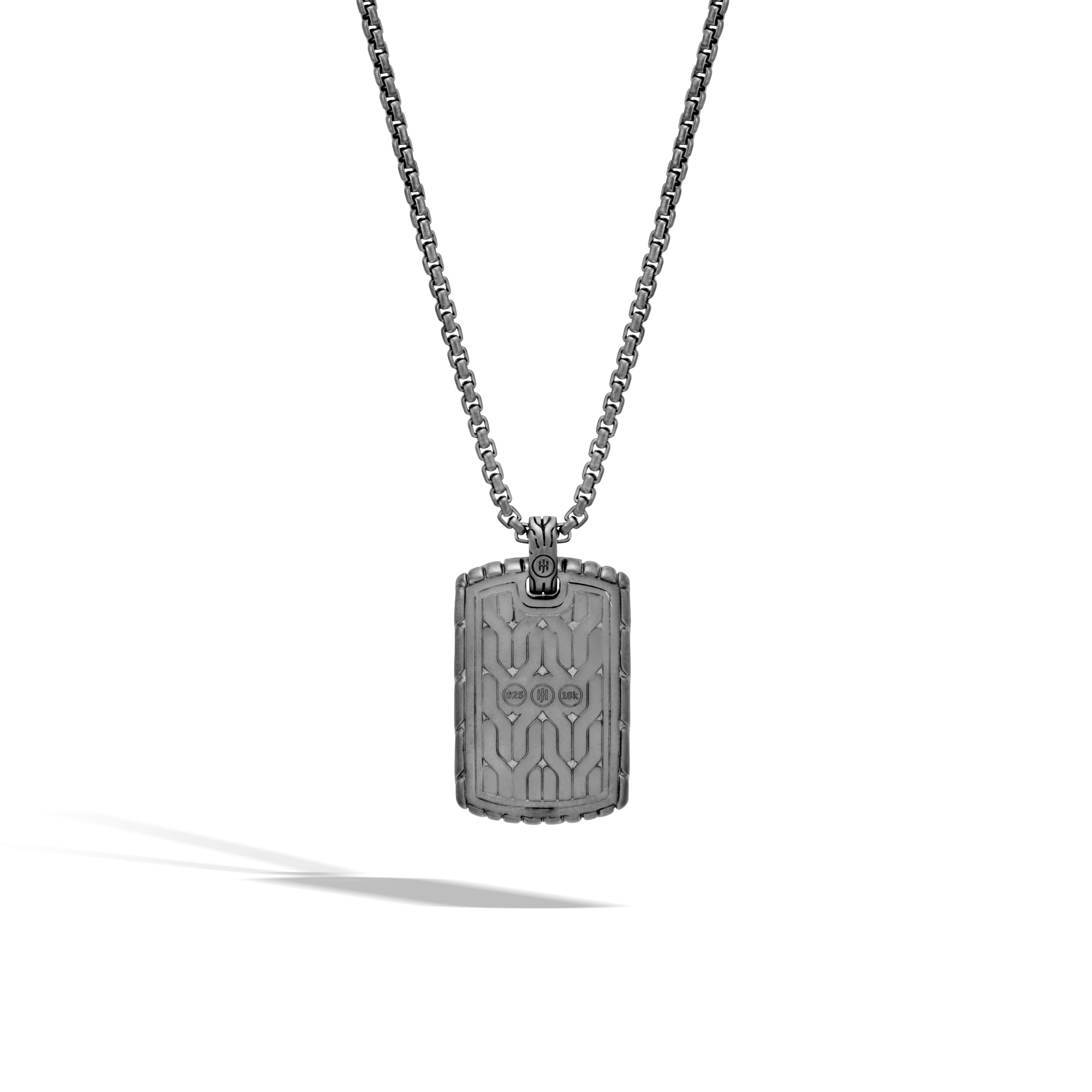Classic Chain Dog Tag Necklace in Blacked Silver and 18K Gold