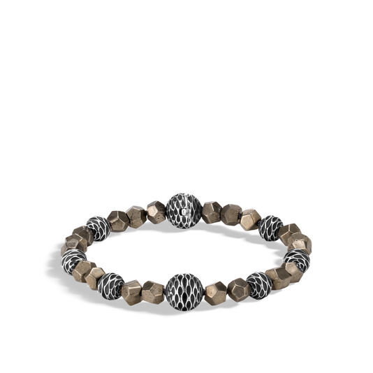 Legends Naga Bead Bracelet in Silver with 6MM Gemstone, Pyrite, large
