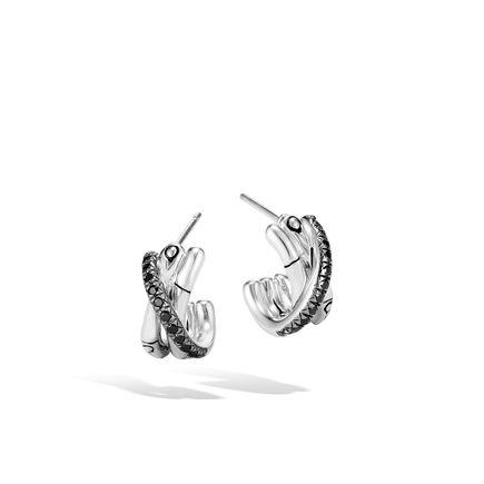 Bamboo J Hoop Earring in Silver with Gemstone