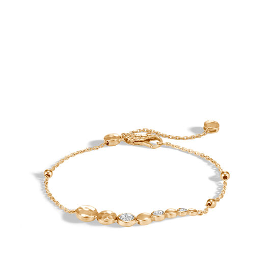 Dot Pull Through Bracelet in Hammered 18K Gold with Diamonds, White Diamond, large