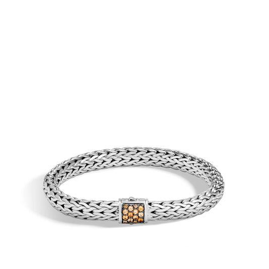 Classic Chain 7.5MM Bracelet in Silver with Gemstone, Mandarin Garnet, large