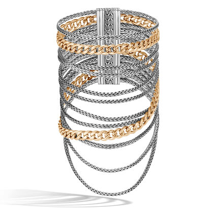 AAxJH Classic Chain Multi Row Bracelet in Silver and 18K Gold