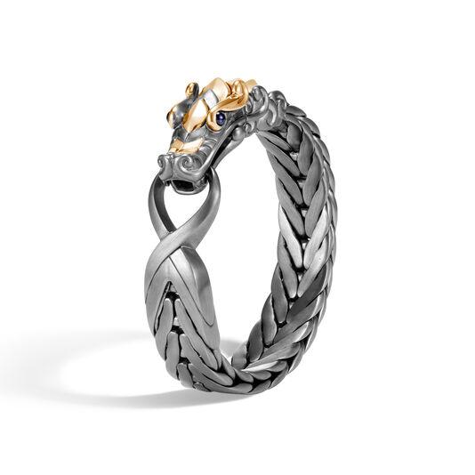 Legends Naga 16MM Station Bracelet, Blackened Silver, 18K Gold, Blue Sapphire, large