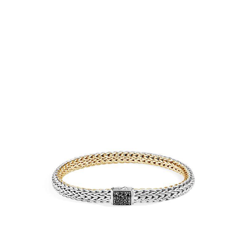 Reversible 6.5MM Bracelet, Silver, 18K Gold, Diamond, Treated Black Sapphire, large