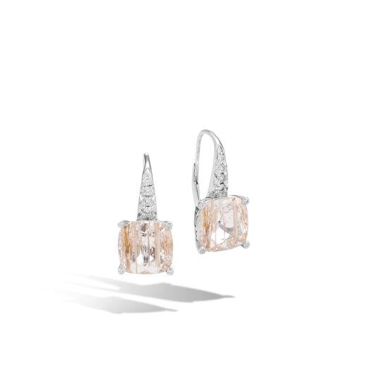 Classic Chain Magic Cut Drop Earring, Silver, Gems, Diamonds, Rutilated Topaz, large