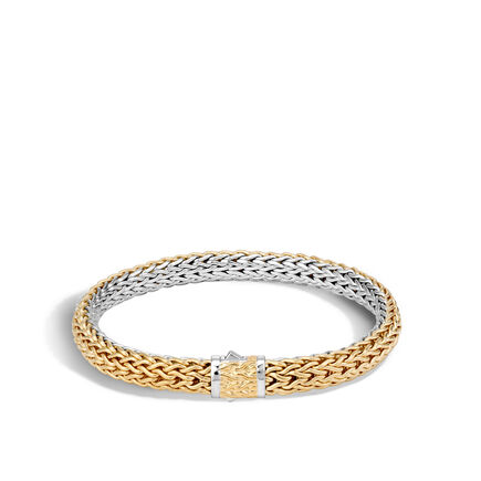 Classic Chain 7.5MM Reversible Bracelet, Silver, 18K Gold