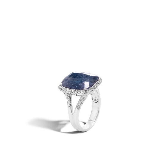 Classic Chain Magic Cut Ring, Silver, 15x12MM Gems, Diamonds, Blue Sapphire, large