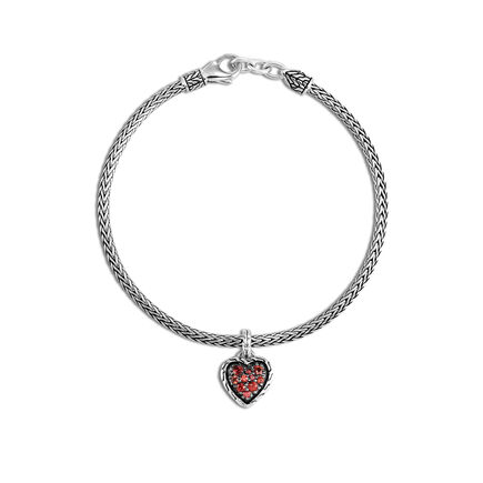 Classic Chain Heart Charm Bracelet in Silver with Gemstone
