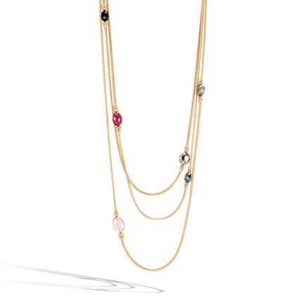 Classic Chain Station Necklace in 18K Gold with Gemstone