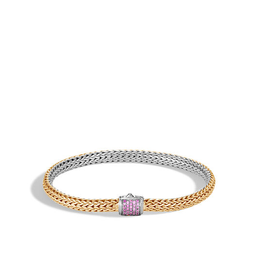 5MM Reversible Bracelet in Silver and 18K Gold with Gemstone, Pink Sapphire, large