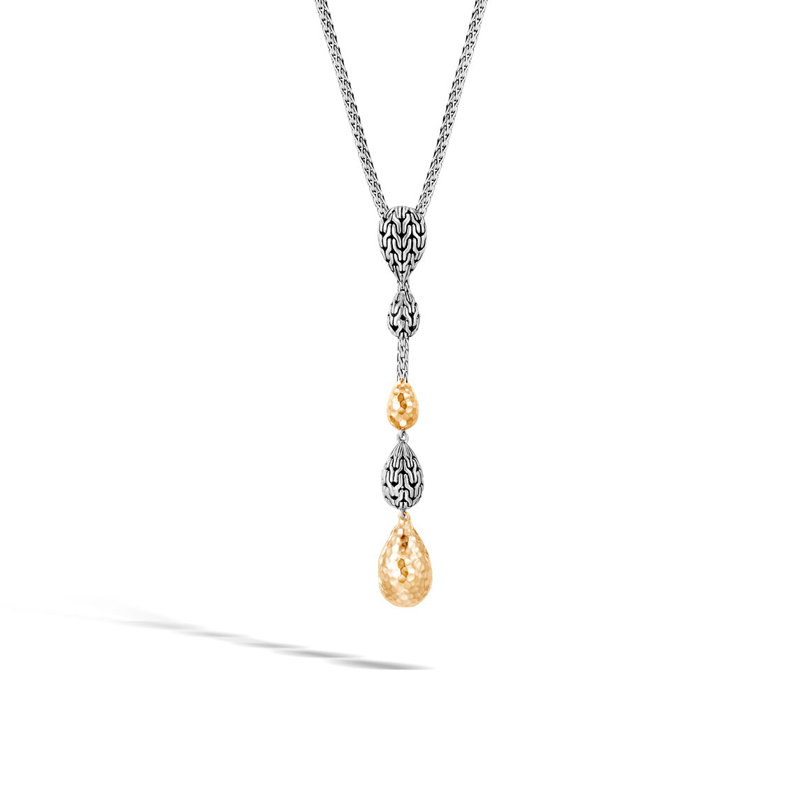 Classic Chain Y Necklace in Silver and Hammered 18K Gold