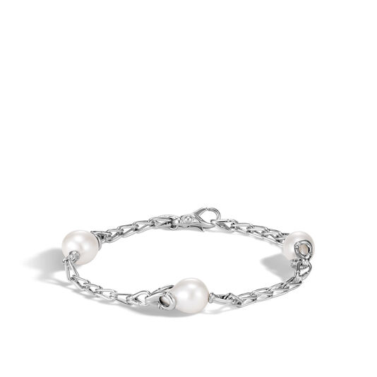 Bamboo Station Bracelet in Silver with 9MM Pearl, White Fresh Water Pearl, large