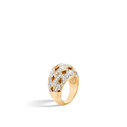 Classic Chain 15MM Dome Ring in 18K Gold with Diamonds