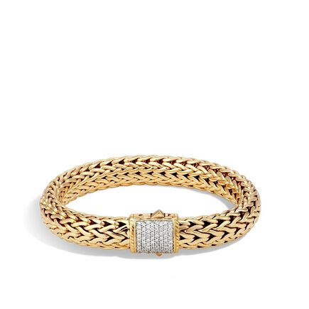 Classic Chain 10.5MM Bracelet in 18K Gold with Diamonds
