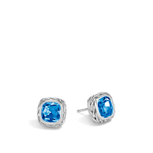 Classic Chain Magic Cut Stud Earring in Silver, 8MM Gemstone, London Blue Topaz, large