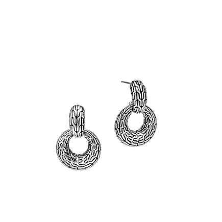 Classic Chain Door Knocker Earring in Silver