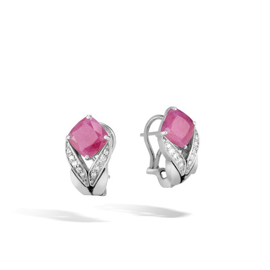 Modern Chain Magic Cut Earring in Silver, Gemstone and Dia, Pink Sheen Sapphire, large