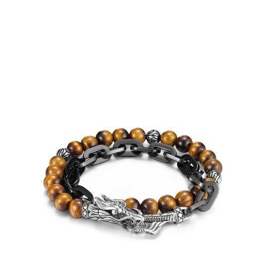 Legends Naga Wrap Bracelet, Silver, Stainless Steel, Gems, Brown Tiger Eye, large