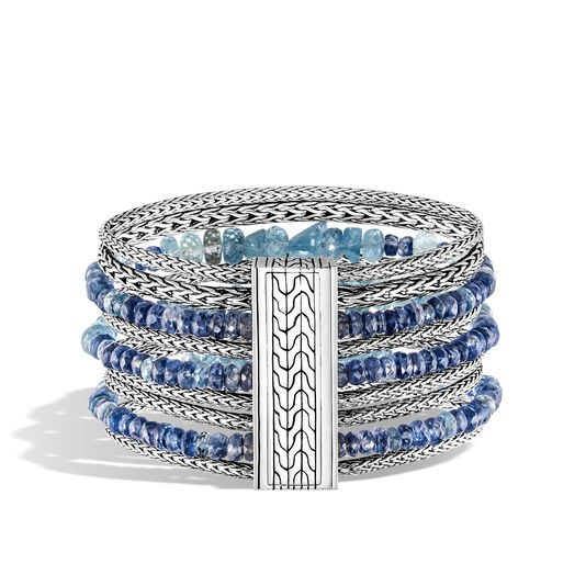 Classic Chain 37MM Multi Row Bracelet in Silver with Gemstone, Aquamarine, large